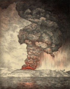 Lithograph of Krakatoa eruption.