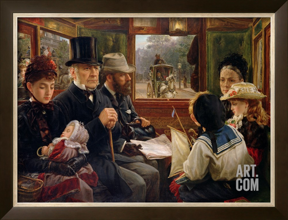 An omnibus ride to Piccadilly Circus – Mr. Gladstone travelling with ordinary passengers by Alfred Morgan, 1885