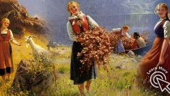 30 Beautiful Paintings of Village Life Around Norwegian Fjords by Hans Dahl